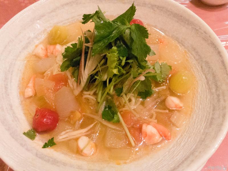鹵素面 (海老と夏野菜の冷やし麺) @獅門酒楼.横浜中華街