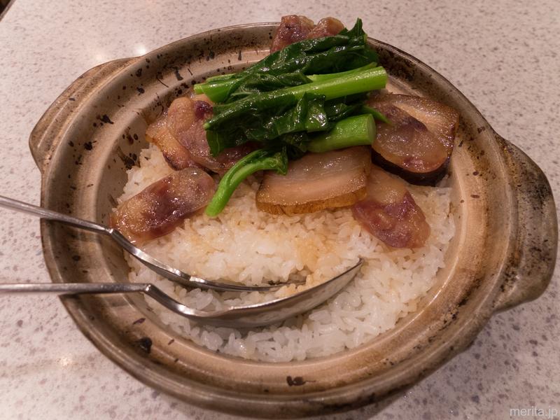 腊腸腊肉煲仔飯 (自家製干肉、腸詰の土鍋ご飯) @一楽.横浜中華街